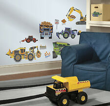 CONSTRUCTION VEHICLES wall stickers 18 decals Backhoe Excavator Bulldozer trucks
