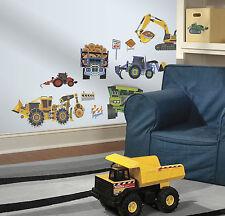 CONSTRUCTION VEHICLES wall stickers 18 decals Backhoe Excavator Bulldozer trucks