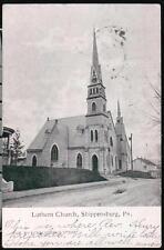 SHIPPENSBURG PA Memorial Lutheran Church Antique 1907 B&W Postcard Vtg Town View