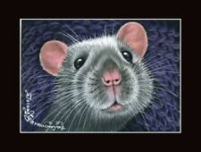 Rat ACEO Print Whos There? by I Garmashova