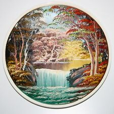 Original Vintage 1978 Oil Painting ceramic plate Waterfall Landscape signed