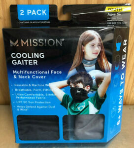 New Mission Cooling Gaiter Face Neck Cover YOUTH 2Pack Black/Grey, Multicam Blue