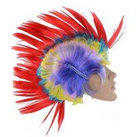 Multi Coloured Punk Rainbow Wig Mohican Mohawk Paty Rocker Costume Fancy Dress