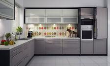 Küchenzeile L-Form Küche Küchenblock 240x370cm lava / vanille - beige (QU-N)