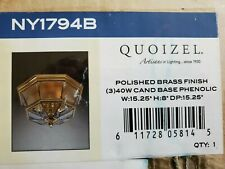 """Quoizel NY1794B Polished Brass 3 Light 15.25""""Wide 8"""" Deep Ceiling Fixture"""