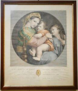 RAFFAELLO SANZIO MADONNA DELLA SEGGIOLA  Incisione 1794 R. Morghen 50 x 43cm