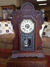 AMERICAN ANTIQUE ANSONIA NEW YORK OAK CASE PENDULUM CLOCK ORIGINAL ETCHED GLASS