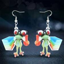 Silver Dangle Hook Jewelry For Women Acrylic Cartoon Teacher Frog Earrings 925