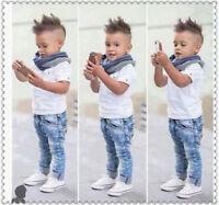 3PCS/Set Toddler Baby Boys Tops T-shirt+ Scarf+ Denim Pants Kids Clothes Outfits