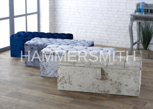 """SALE!!!! LARGE 40"""" CRUSHED VELVET OTTOMAN BLANKET STORAGE BOX IN VARIOUS COLOURS"""