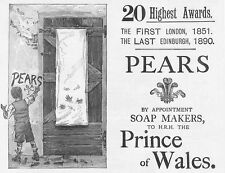 PEARS Soap Makers; Dirty Handprints - Antique Victorian Advertising Print 1891
