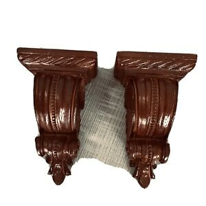 """Corbel Curtain 2 Rod Holders Scarf Swag Sconce Brown Wood 2.25"""" Opening 7x 3.5"""