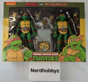 NECA TMNT Teenage Mutant Ninja Turtles Raphael and Michelangelo - NEW In Hand