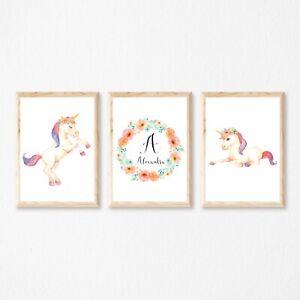Set of 3 Unicorns personalised Nursery Girls Wall Art Poster Prints Decor,