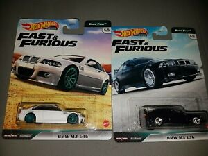 Hot Wheels Fast & Furious Euro Fast BMW M3 Both E36 & E46 NEW