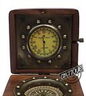 Vintage Table Watch Antique Design Wooden Desk Compass Brass Brown Clock Sm