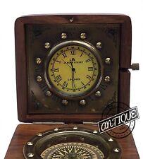 Vintage Victorian Style Clock & Compass, in Wooden Vintage Desk Clocks comp