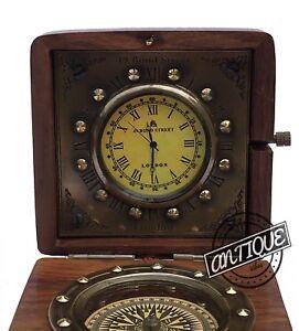 Vintage Victoria Shelf Clock Vintage Compass-Clock Retro Table Top Wooden B
