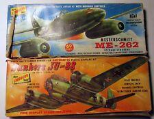 2 Early 60s Lindberg Kits 1/48 Messerschmitt ME-262 #538 3/16 Junkers JU-88 #545