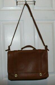 Vintage COACH Brown Leather Briefcase/Messenger Bag w/ Shoulder Strap