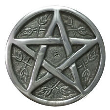 "Pentacle Altar Tile 3"" Silver Aluminum Incense Burner Wicca Pentagram NEW"