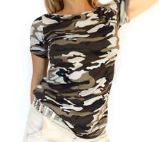 Kurzarm Damen-Shirts mit Camouflage-Muster