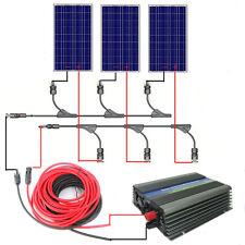 300W Watt 3*100 W Solar Panel Grid Tie Complete Kit W/ 500W 12-120V Inverter