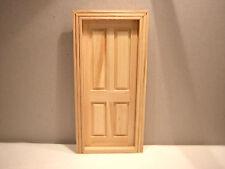 1/12th Dollshouse Miniature 4 Panel Wooden Door with Frame
