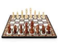 Wunderschöne Pearl Optik Schach Spiel mit Massiv Holz Schachfiguren