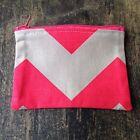 Girls/Ladies Retro Chevron Cotton Coin , Pouch purse 12x 9 cm Hot Pink & Cream