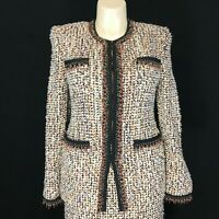 New ST JOHN Couture Marie Gray 12 Blazer Soft Wool Tweed Suit Bead Fringe $1895