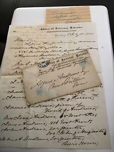 1864 Handwritten Letterhead Envelope Andrews Cincinnati OH Internal Revenue