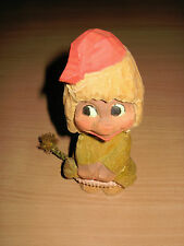 "Vintage Hand Carved 6"" Tall Henning Figurine Norway Gnome Troll Girl Figurine"