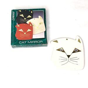 Vintage Schildkraut Cat Mirror Compact Mirror White Cream New In Box 1987
