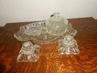 VINTAGE 5 PIECE GLASS DRESSING TABLE SET:TRAY/LIDDED POT/PIN-DISH/2 CANDLESTICKS
