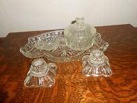 VINTAGE 5 PIECE GLASS DRESSING TABLE SET:TRAY/LIDDED POT/PIN-DISH/2 CANDLESTICKS