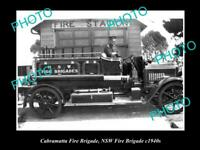 OLD LARGE HISTORIC PHOTO OF CABRAMATTA NSW, THE NSW FIRE BRIGADE STATION c1940s
