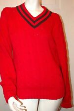 Polo Ralph Lauren Red, Black V-neck Cable Sweater Sz M