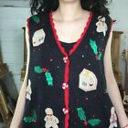 Vintage | Gingerbread Man Tacky Ugly Christmas Sweater Vest | Woman's Size L