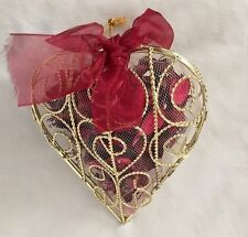 "Fragrant 5.5"" Red Potpourri Metal Figurine Heart Basket"