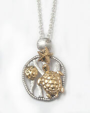 Sea Turtle Necklace Starfish Nautical 3D Gold Over Silver QUALITY FAST SHIP USA