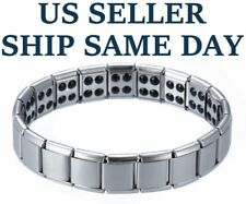 NEW Magnetic Bracelet Silver Men's Titanium Therapy Arthritis Health Pain Relief