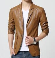 Men's leather suit Jacket  Lapel Stylish Coat Motorcycle Leather Coat outwear