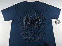 NEW AFFLICTION Men 2XL T Shirt Remi Blue Velvet V Neck Fit Graphic Tie Dye Fade