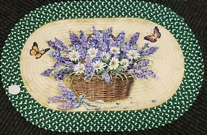 """Oval Braided Kitchen Accent Rug (20"""" x 30"""") LAVENDER, DAISIES & BUTTERFLIES"""