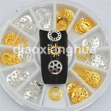 gold silver metal gear 3d nail art decoration gearwheel nails accessories tools