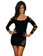 Tube Tight Fitted Seamless Body-Con Bodycon Mini Long Sleeves Sexy Club