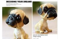 Cute Resin Bobblehead Puppy Pug Dog Hand Painted model Figurine Statue US Gift