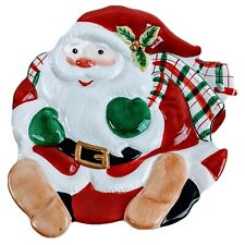 Fitz And Floyd Plate Dessert Canape Essentials Plaid Christmas Santa Retired