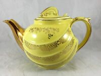 Vintage Hall China Teapot Yellow and Gold Parade Pattern 6 Cup Teapot